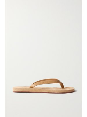 Loro Piana my lp topstitched leather-trimmed suede flip flops