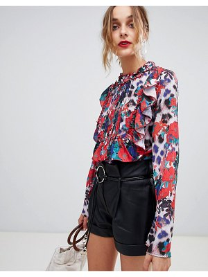Lost Ink Blouse With Frill Panel In Floral Leopard Mixed Print