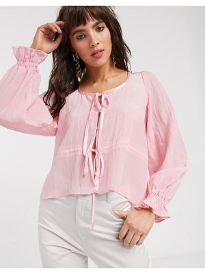 Lost Ink blouse with tie front-pink