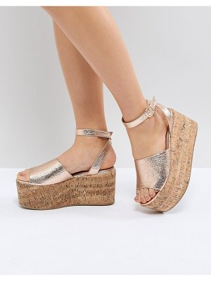 Lost Ink Blu Rose Gold Cork Flatform Sandals