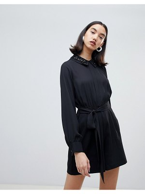 Lost Ink button up romper with belted waist and embellished collar