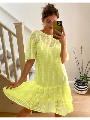 Lost Ink drop waist mini smock dress with pleated skirt in check organza-yellow