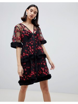 Lost Ink embroidered mini smock dress with faux fur trims