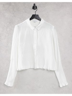 Lost Ink fitted shirt with shirred cuffs-white