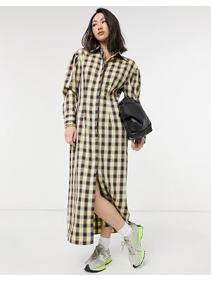 Lost Ink full maxi shirt dress in vintage check-yellow
