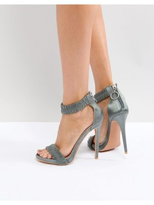 Lost Ink Gray Ruched Heeled Sandals