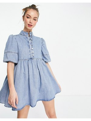 Lost Ink high neck smock dress with balloon sleeves in light wash denim-blues