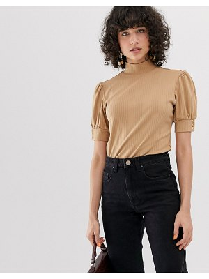 Lost Ink high neck top with puff sleeve