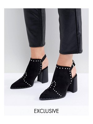 Lost Ink Jasmine Black Studded Open Back Ankle Boots