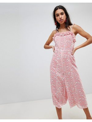 Lost Ink Jumpsuit With Frill Hem In Pastel Print