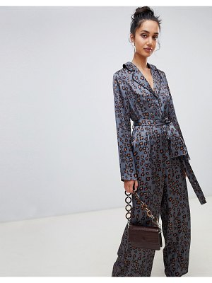 Lost Ink jumpsuit with wrap tie waist