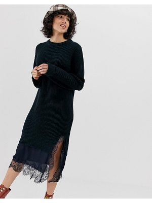 Lost Ink knitted sweater dress with contast lace hem