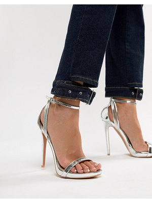 Lost Ink Lara Silver Stilleto Heeled Sandals