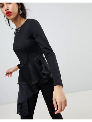 Lost Ink Long Sleeve Top With Tiered Asymmetric Frill