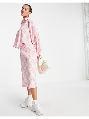 Lost Ink midaxi shirt dress with tie front in neon plaid-pink