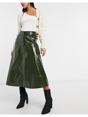 Lost Ink midi circle skirt with button front in olive faux leather-green
