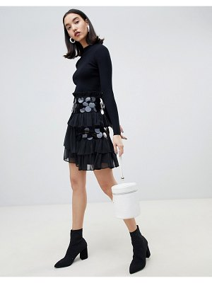 Lost Ink mini skirt with ruffle layers and oversized sequins