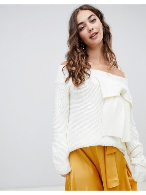 Lost Ink off shoulder sweater with 3d bow