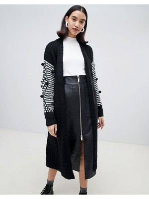 Lost Ink oversized belted cardigan with contrast pom pom trim sleeves