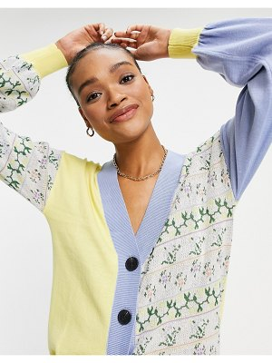 Lost Ink oversized cardigan in panelled floral knit-multi