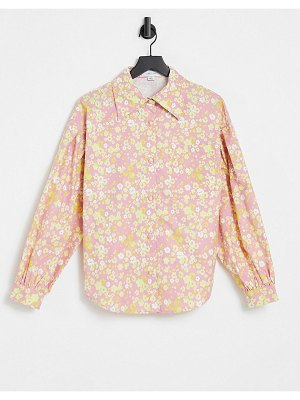 Lost Ink oversized shirt with balloon sleeves in retro floral print-multi