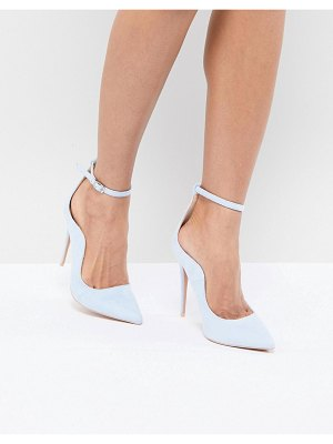 Lost Ink Pale Blue Ankle Strap Pumps