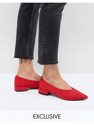Lost Ink Red High Vamp Flat Shoes