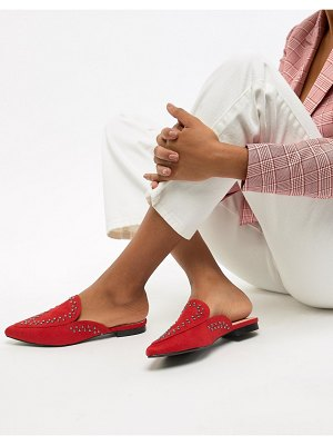 Lost Ink Red Studded Flat Mules