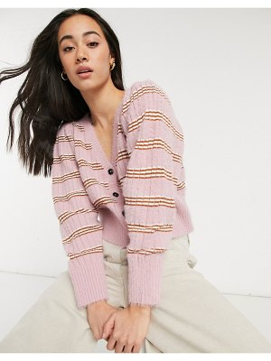 Lost Ink relaxed cardigan in spaced stripe-pink