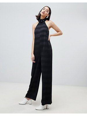 Lost Ink sleeveless jumpsuit with buckle collar