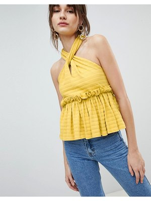 Lost Ink Sleeveless Top With Ruffle Peplum