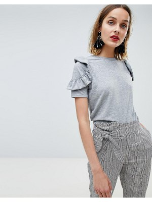 Lost Ink T-Shirt With Ruffle Shoulder Detail In Marl