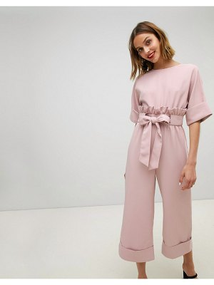 Lost Ink Wide Leg Jumpsuit With Tie Waist And Frill Detail