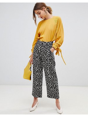 Lost Ink Wide Leg Pants In Leopard