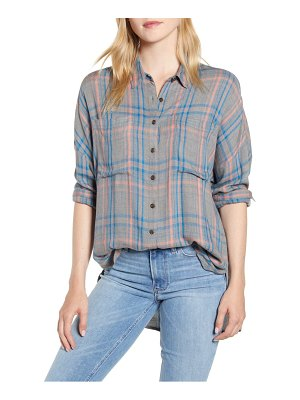 LOU & GREY victoria button front plaid shirt
