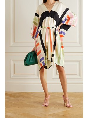Louisa Parris net sustain cole asymmetric belted printed silk-twill dress