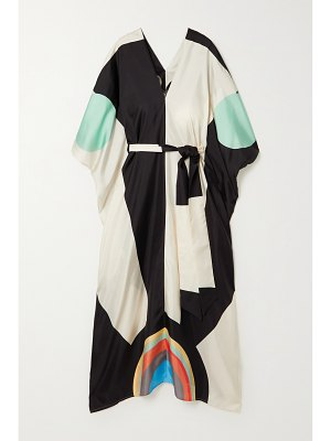 Louisa Parris neville belted printed silk-twill maxi dress