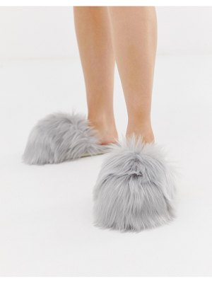 Loungeable faux fur slipper in gray