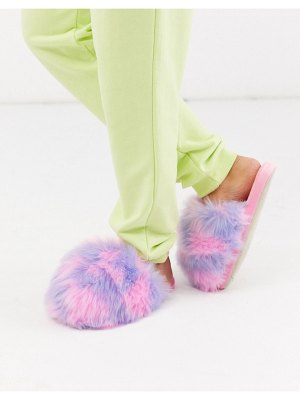 Loungeable faux fur slipper in multi pink and purple