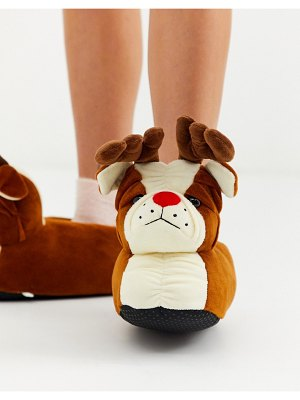 Loungeable holidays bulldog with antlers slippers in brown