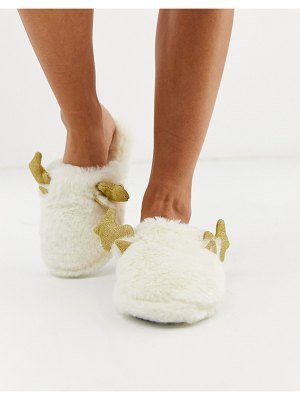 Loungeable reindeer sparkle antler fluffy slippers-white