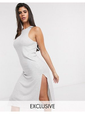 Loungeable soft knit lounge dress in gray stripe