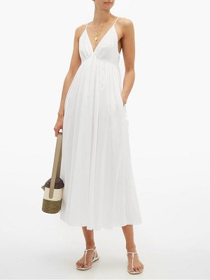 LOUP CHARMANT adelaide empire waist cotton poplin midi dress