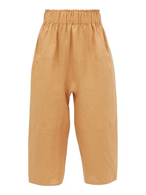 LOUP CHARMANT homer paperbag-waist cropped linen trousers