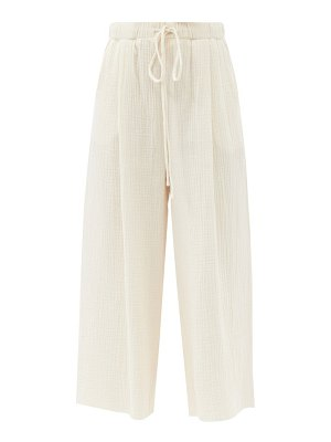 LOUP CHARMANT marsh cotton-voile cropped wide-leg trousers