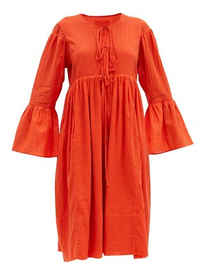 LOUP CHARMANT minerva bell-sleeve organic-cotton dress