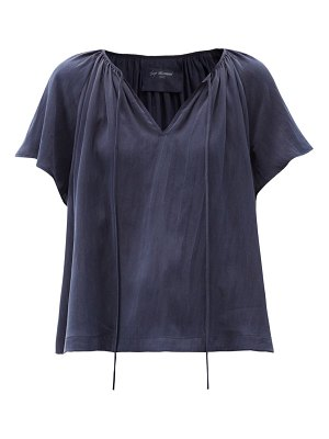 LOUP CHARMANT paloma tie-neck hammered-silk blouse
