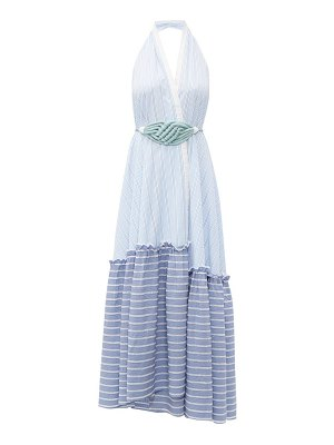 Love Binetti halterneck striped cotton maxi dress