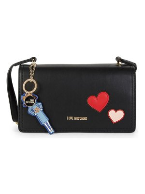 Love Moschino Patch Faux Leather Shoulder Bag