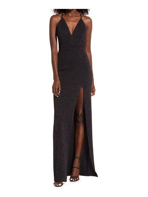 Love, Nickie Lew sparkle knit open back gown